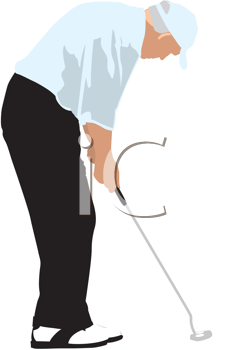 Royalty Free Clipart Image of a Male Golfer Putting