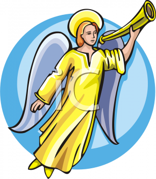 Royalty Free Clipart Image of an Angel Holding a Trumpet