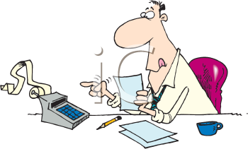 Royalty Free Clipart Image of a Man With an Adding Maching