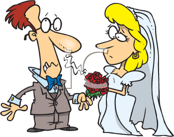 Royalty Free Clipart Image of a Groom With an Allergy to the Bride's Bouquet