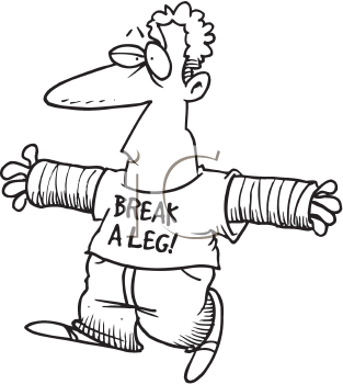 Royalty Free Clipart Image of a Man With Two Broken Arms