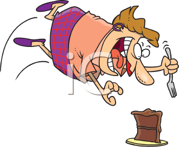 Royalty Free Clipart Image of a Woman Attacking a Piece of Cake