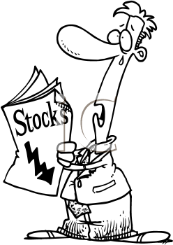 Royalty Free Clipart Image of a Man Reading the Stock Report