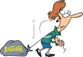 Royalty Free Clipart Image of a Woman Dragging Baggage