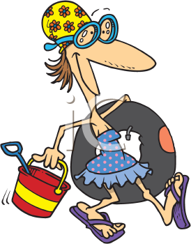 Royalty Free Clipart Image of a Woman Heading to the Beach