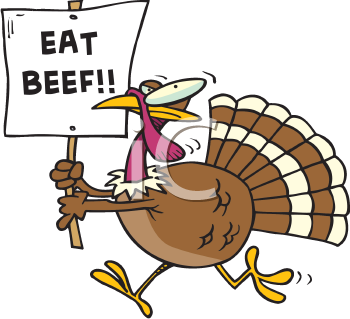 Royalty Free Clipart Image of a Turkey With an Eat Beef Sign