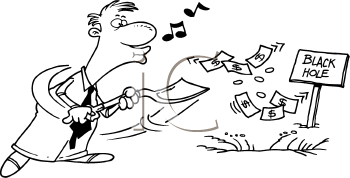 Royalty Free Clipart Image of a Man Shovelling Money Down a Hole