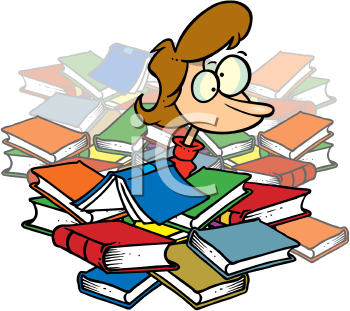 Royalty Free Clipart Image of a Woman Under a Pile of Books