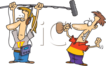 Royalty Free Clipart Image of Two Men Creating a Bang with a Bag and a Microphone