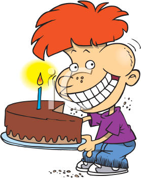 Royalty Free Clipart Image of a Boy With a Birthday Cake