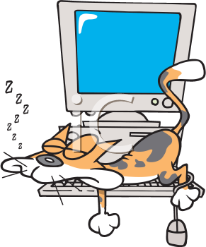 Royalty Free Clipart Image of a Cat Napping on a Keyboard