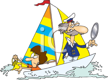 Royalty Free Clipart Image of a Couple in a Sailboat