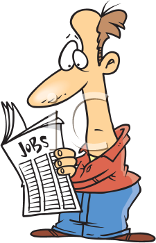 Royalty Free Clipart Image of a Man Looking for Work