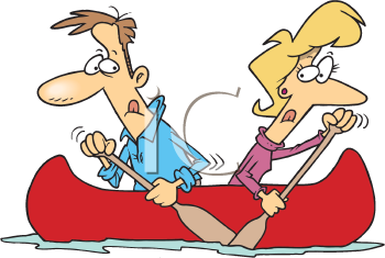 Royalty Free Clipart Image of a Couple Paddling Opposite Ways in a Canoe