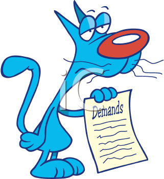 Royalty Free Clipart Image of a Cat Showing Demands