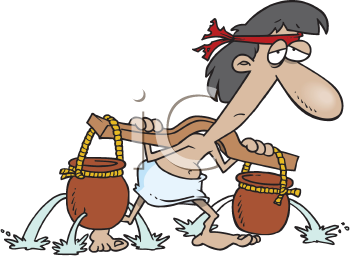 Royalty Free Clipart Image of a Man Carrying Water in Buckets