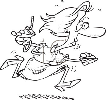 Royalty Free Clipart Image of a Woman Eating on the Run