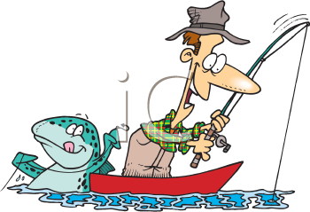 Royalty Free Clipart Image of a Fisherman and a Fish