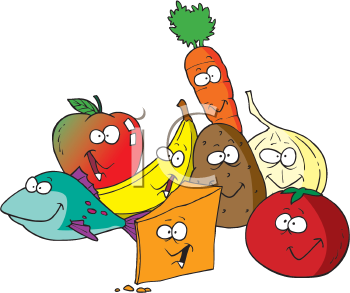 Royalty Free Clipart Image of Various Food