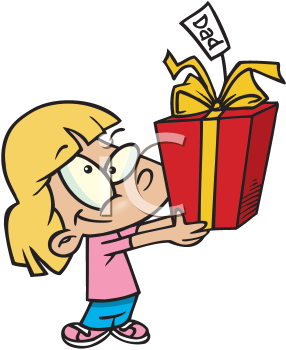 Royalty Free Clipart Image of a Girl With a Gift for Dad