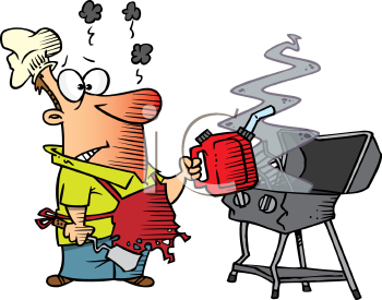 Royalty Free Clipart Image of an Exploded Barbecue and a Man with a Gas Can