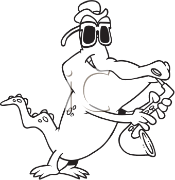 Royalty Free Clipart Image of a Gator Playing a Horn