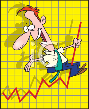 Royalty Free Clipart Image of a Man on a Graph