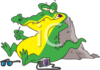 Royalty Free Clipart Image of an Alligator Resting