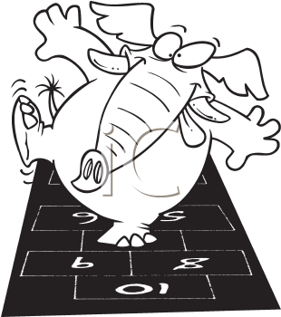 Royalty Free Clipart Image of an Elephant Playing Hopscotch