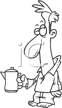 Royalty Free Clipart Image of a Man in His Pyjamas Carrying a Coffee Pot