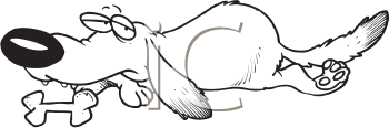 Royalty Free Clipart Image of a Dog With a Bone