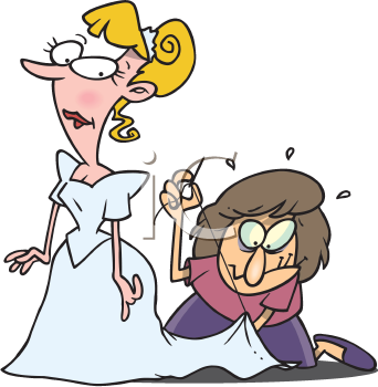 Royalty Free Clipart Image of a Seamstress Working on a Bride's Gown