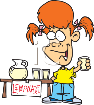Royalty Free Clipart Image of a Child at a Lemonade Stand