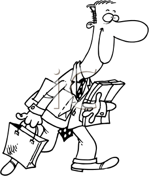 Royalty Free Clipart Image of a Man With Packages and Bags