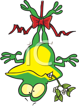 Royalty Free Clipart Image of a Frog Hanging From the Mistletoe