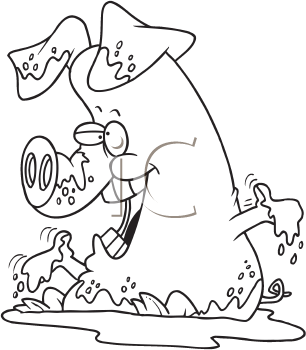 Royalty Free Clipart Image of a Pig in Mud