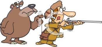 Royalty Free Clipart Image of a Hunter With a Bear Standing Behind Him