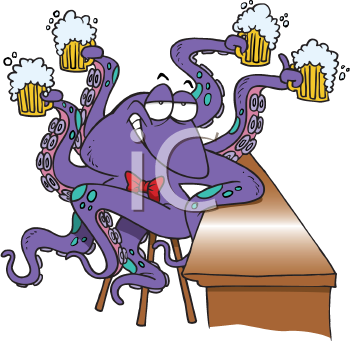 Royalty Free Clipart Image of an Octopus Drinking Beer