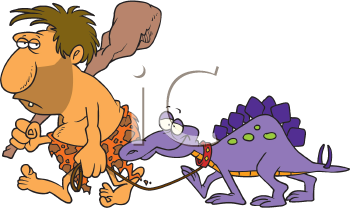 Royalty Free Clipart Image of a Caveman and a Pet