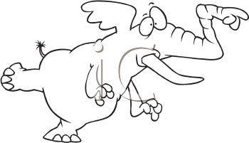 Royalty Free Clipart Image of a Pointing Elephant