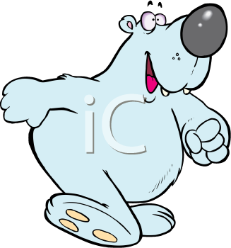Royalty Free Clipart Image of a Polar Bear Walking