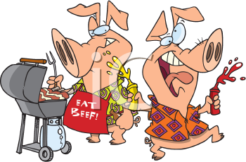 Royalty Free Clipart Image of Pigs at a Beef Barbecue