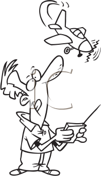 Royalty Free Clipart Image of a Man Playing With a Remote Controlled Plane