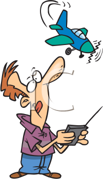 Royalty Free Clipart Image of a Guy Playing With a Radio Controlled Plane