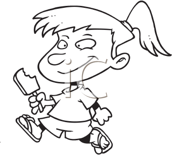 Royalty Free Clipart Image of a Girl Eating an Ice-Cream Treat