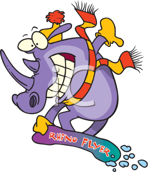 Royalty Free Clipart Image of a Rhinoceros on a Snowboard
