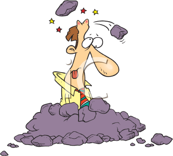 Royalty Free Clipart Image of a Man Under Falling Rocks