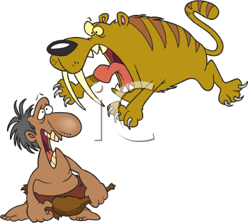 Royalty Free Clipart Image of a Sabre Tooth Tiger and a Caveman
