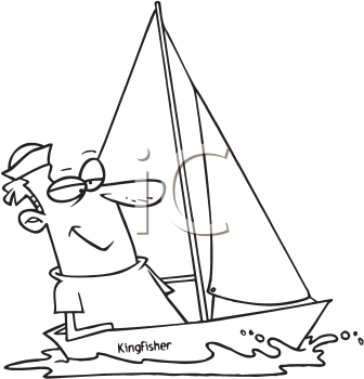 Royalty Free Clipart Image of a Man in a Sailboat