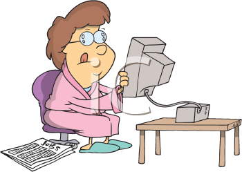 Royalty Free Clipart Image of a Near-Sighted Woman Holding a Computer Monitor
